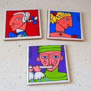 Ursula Dodge Signature Coasters Tiles Set of 3